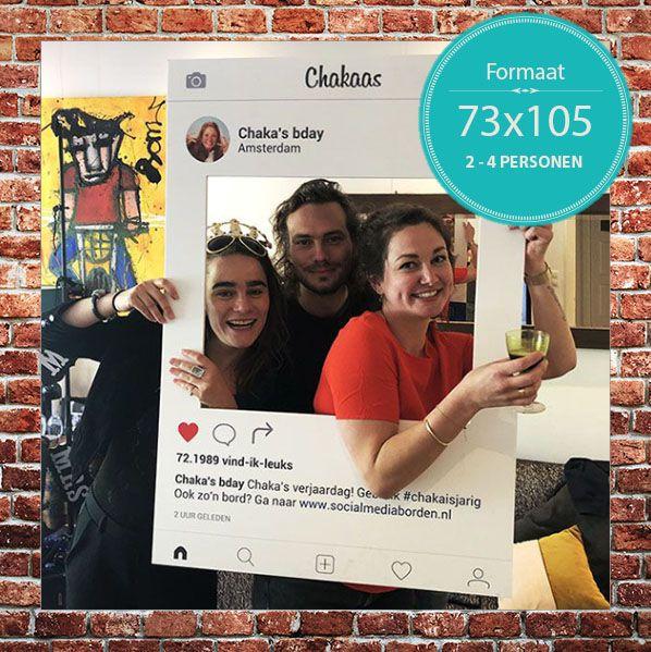 Instagram frame Instagram Bord Bestellen op Afmeting Large 73x105cm 2 - 4 personen